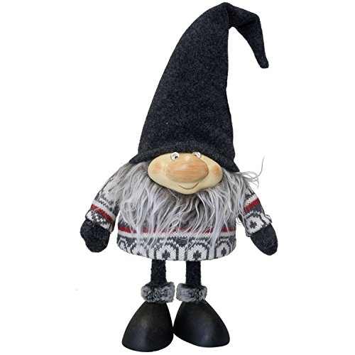 Wackel Gnom mit grauem Bart und Norweger Pullover 25cm