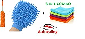 Autovalley Microfiber Cleaning Cloths 3 In 1 Combo For Car Care (6 Large Microfibre Cloth & 1 Big Size Microfiber Mitt Glove - Assorted Colors, 1 microfiber duster long Handel)