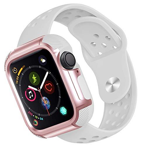 Hanlesi kompatibel Apple Watch Armband 40mm 44mm, Weiche Silikon Sport Ersatz Armbänder Verstellbare Uhrenarmband mit PC Watch Rahmen Schutzhülle kompatibel für iWatch Series 4 -