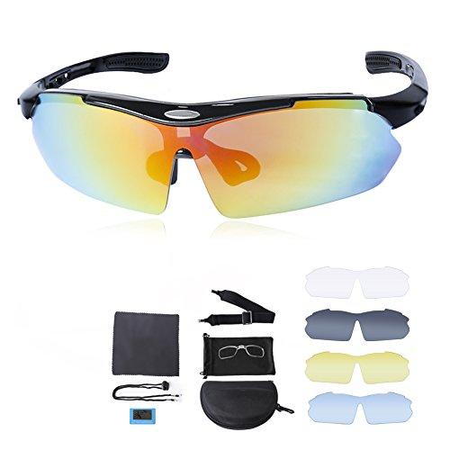 DELICACY Fahrradbrille Sport Sonnenbrille für Herren und Damen Polarisierte, Sportbrille mit 5 Wechselobjektiven und Frauen Radsports, Baseball, Laufengläser