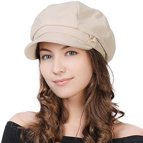 FANCET Fancy Damen Newsboy Cap schwarz Baker Boy Cabbie Gatsby Hut Visier Barett Casual Peaked Hats für Damen Winter Mode verstellbar 55-60 cm Gr. M, - Baker's Frau Kostüm