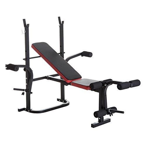 Foto de HOMCOM Banco de Pesas Multifuncional tipo Banco de Musculación con Respaldo Ajustable Carga 150kg Acero 105x150x112cm