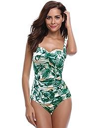 SHEKINI Damen Einteilige Blumen Einfarbig Badeanzug Monokini Verstellbarer Oder Nicht Verstellbarer Schultergurt Badeanzüge Falten Bademode Schwimmanzug