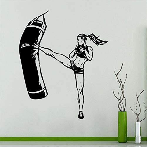 adesivo murale 3d bambini forte atleta femminile taekwondo karate martial kick boxing fighters sports gym stickers bedroom decor