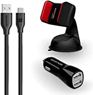 Promate 3-In-1 Car Kit, Potable 3.1A Dual USB Fast Car Charger Adapter with 1.2m USB Type-C to USB Data Sync C