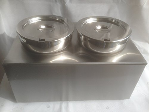 DAVLEX Two Round Pot Bain Marie Soup & Sauce Warmer, Commercial Baine Gastro Pans, Electric