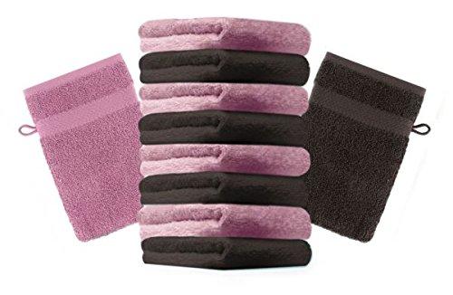 Betz Lot de 10 gants de toilette taille 16x21 cm 100% coton Premium couleur vieux rose, marron foncé