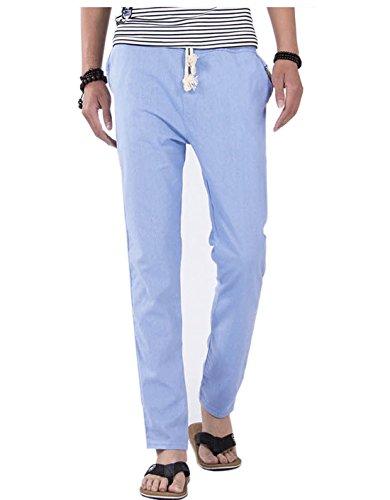 YueLian Morbido Pantaloni Uomo Casual Lunghi in Casa Puro Pantaloni Blu