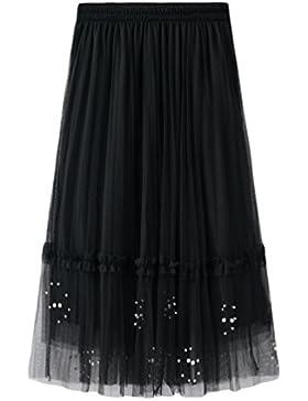 Yiiquanan Falda Tul Doble Capa de la Cintura Alta para Mujer Largo Maxi A-Line Faldas Plisada con Decoración con...