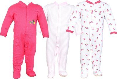 NammaBaby Multi Color Romper Body Suite for New Born baby Pack Of 3 (9-12 months, Pink)