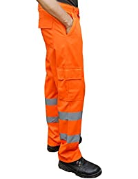 Orange Hi Viz Visibility Work Wear Cargo Railway Highway Trousers Pants