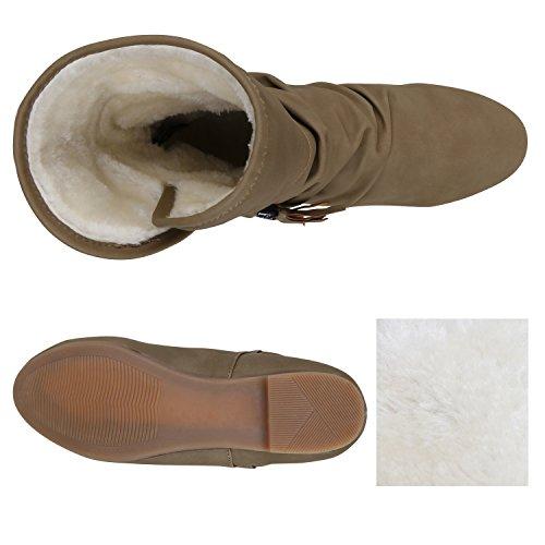 b8b098b6f542c2 ... Stiefelparadies Damen Leicht Gefütterte Stiefel Schlupfstiefel  Wildleder-Optik Stiefeletten Metallic Wedges Boots Keilabsatz Schuhe  Flandell ...