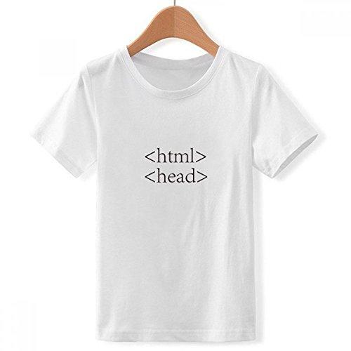 DIYthinker Jungen Programmer Programm Statement Html Crew Hals Weißes T-Shirt X-Groß Mehrfarbig
