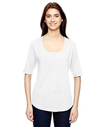 Anvil: Women`s Tri-Blend Deep Scoop 3/4 Sleeve Tee 6756L, Größe:2XL;Farbe:White -