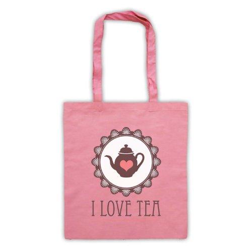 "Scritta in inglese ""I Love Tea-Borsa Rosa"