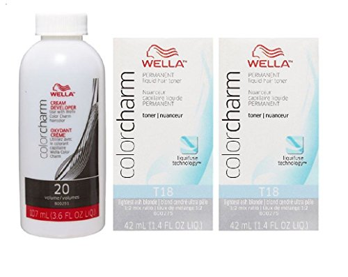 Wella Color Charm T18 Lightest Ash Blonde 2-Pack with CC Cream 20 Developer 3.6 oz. - COMBO DEAL! by Wella