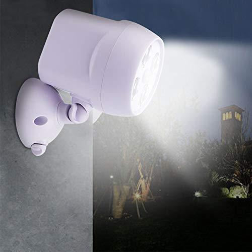 rotatif à 360° Détecteur de mouvement spot, IP65étanche 4LED extérieur lumières, lampe à piles, éclairages de sécurité pour mur, jardin, couloirs et Allée, blanc