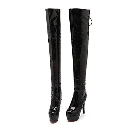 AllhqFashion Damen Blend-Materialien Hoher Absatz Schließen Zehe Hoch-Spitze Stiefel Schwarz-Überschneidend Armband