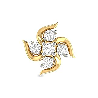 PC Jeweller The Inis 18KT Yellow Gold and Diamond Nose Pin for Women