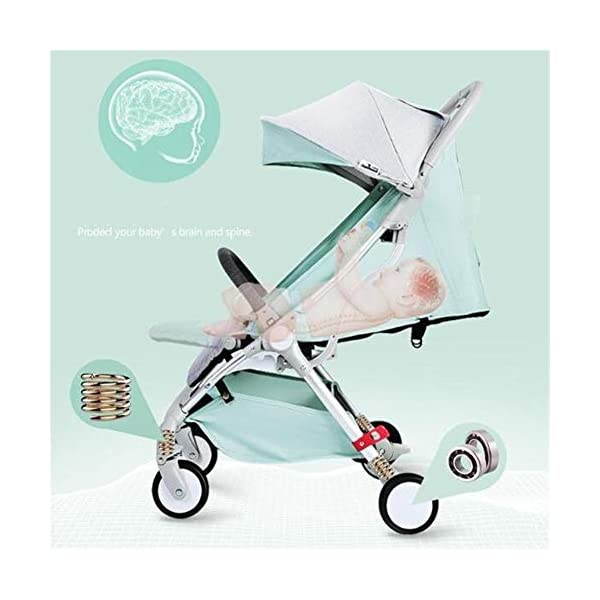 WFCVS Pushchairs Pram Sit Lie Light Folding 0-3 Year Old One Key Car Portable Shockproof Trolley,Green WFCVS Pusher type: baby carriage Applicable age: 1 months ~4 years Frame material: aluminum alloy / tube wall thickness: 1.5mm Basket fabric: Oxford cloth / bearing: 15kg Baby wheel type: EVA foam / wheel material: PU/ bearing number: 10 axis. 2