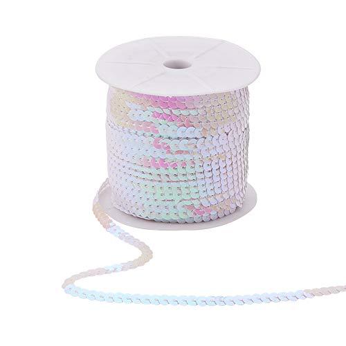 PandaHall Elite Über 100 Yards/Roll Flat Round Weiß AB-Color Kunststoff Paillette Perlen Pailletten Perlen Roll Ornament Zubehör für Dekoration, 6mm