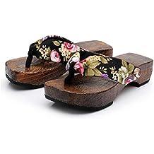Winwintom Mujeres Casual Verano Plataforma Zapatos Madera Mujeres Flor Sandalias Zueco Deslizadores De Madera Flip Flops