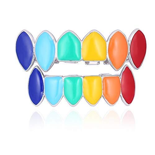 Rainbow Hip Hop Zähne Oben Unten Zähne Setzen Kupfer-Zahn Kopfschmuck Für Zahn Mund Mode Dental Abnehmbare (Regenbogen)