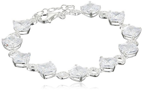 Elements Silver B3489C Ladies' Clear Cushion Cut and Pave Cubic Zirconia Detail Sterling Silver Bracelet of 18 cm + 3 cm Extender