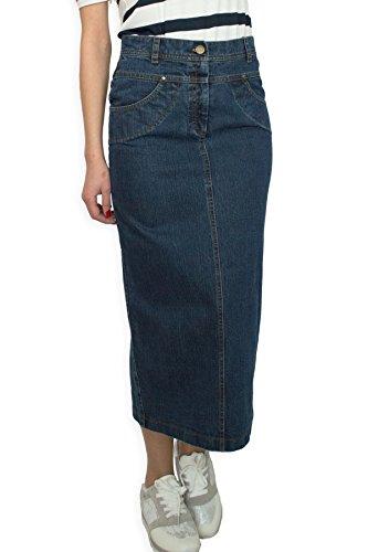 Damen Freizeit Rock Bleistift voller Länge Boutique Blau Denim Jeans Größe EU 36 38 40 42 44 46 48 50 (38) - Volle Länge Damen Rock