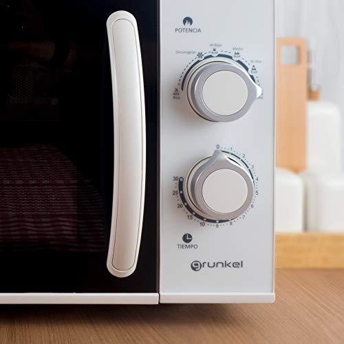 Grunkel - Microondas blanco de 25 litros de capacidad y 900W. 6 niveles de potencia, función descongelación y temporizador hasta 30 minutos. Fácil apertura con tirador. Modelo MW-25SG