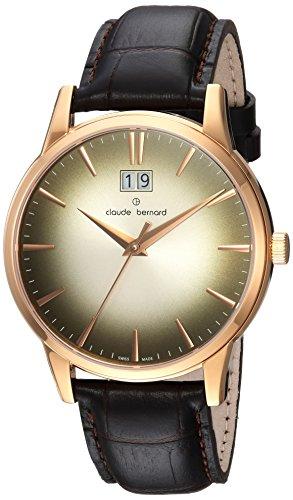 claude bernard Mens Analog Swiss-Quartz Watch with -Leather Strap 63003 37R DIR1