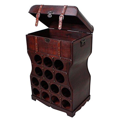 Unbekannt Wein Regal Holz Kiste Metallbeschlag Flaschen Ständer Getränke Schrank rustikal...