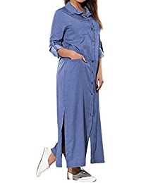 ELECTRI Bouton Robe en Jean Bleu Womens Holiday Cowboy De Cou Paillettes  Ladies Summer Beach Taille 02ef534403e