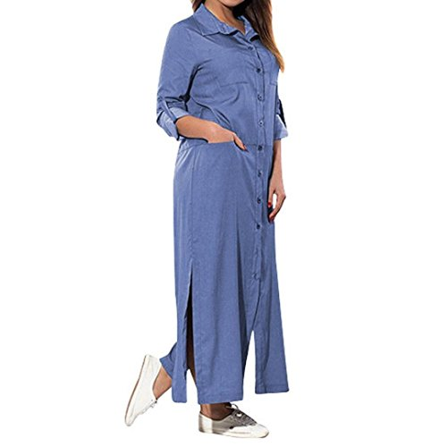 0746ca2620b4 ELECTRI Bouton Robe en Jean Bleu Womens Holiday Cowboy De Cou Paillettes Ladies  Summer Beach Taille