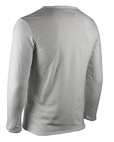 trueprodigy Casual Herren Marken Long Sleeve mit Aufdruck, Oberteil cool und stylisch mit V-Ausschnitt (Langarm & Slim Fit), Langarmshirt für Männer bedruckt Farbe: Grey Melange 1053116-2055 Offwhite