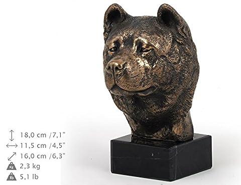 Akita Inu, Hund, Marmor, Statue, Kopf, Limitierte Edition, Art Dog (Akita Inu Hund)