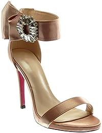 Angkorly Scarpe Moda Sandali Decollete con Tacco Stiletto con Cinturino  alla Caviglia Donna con Volant Gioielli fdcc3d6baec