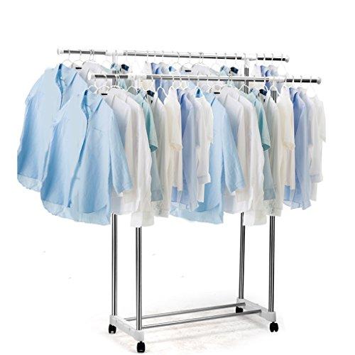 Edelstahl bodenmontierte Kleiderstange, faltbare Doppelstange Wäscheständer, Innenbalkon Mobiler Wäscheständer, Lagerung Schuhregal, (80-150cm) * 35 * (85-106cm)
