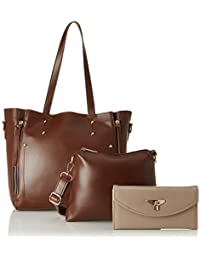 Envias Women's Leatherette Handbag & Sling Bag With Clutch Combo (Brown) (Set of 3)