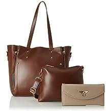Envias Women's Leatherette Handbag & Sling Bag With Clutch Combo (Brown) (Set of 3)