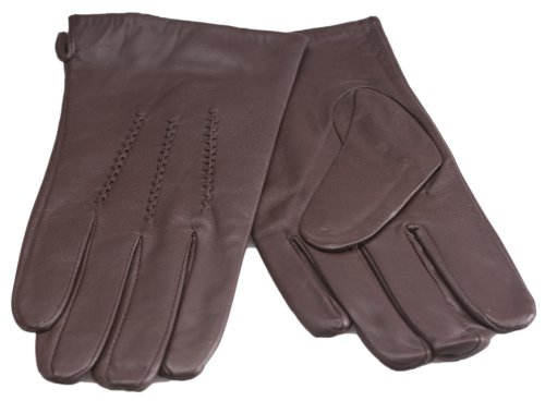 Quivano Gants en cuir souple véritable de qualité pour homme avec 3 coutures décoratives # 302-200 Marron