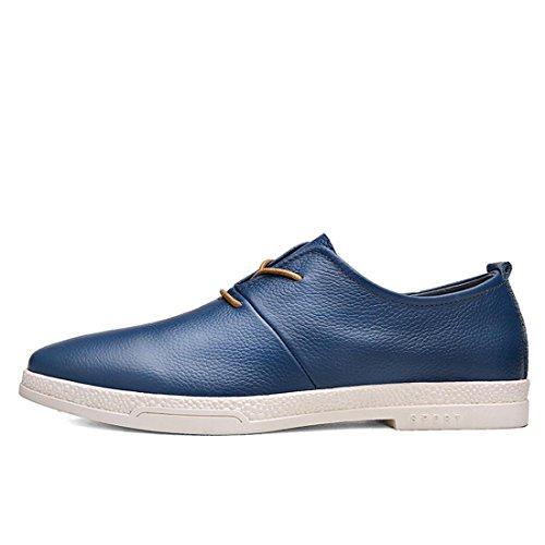 Uomo Moda Tempo libero Scarpe di pelle traspirante Ballerine formatori Scarpe casual Scarpe sportive euro DIMENSIONE 38-44 blue