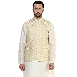 Kisah Brocade cotton Silk Beige Self Design Waistcoat Mens