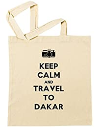 Keep Calm And Travel To Dakar Bolsa De Compras Playa De Algodón Reutilizable Shopping Bag Beach Reusable