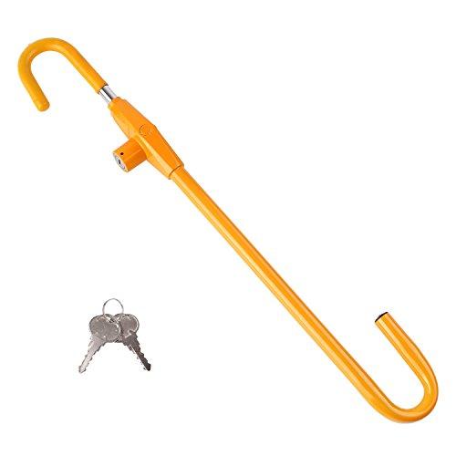 FIXKIT Auto Lenkradkralle, Universal Lenkradsperre aus gehärtetem Stahl, schützt vor Diebstahl und unbefugtem Gebrauch des Autos -- Lenkradschloss gelb (mit zwei Schlüsseln)