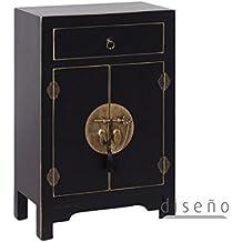 IXIA-Mueble Auxiliar - Recibidor Colección Oriente 2 Puertas y 1 Cajón color Negro - iBERGADA