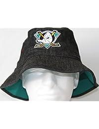 Anaheim Mighty Ducks Mitchell & Ness NHL Black Stone Wash Bucket Hat Chapeau