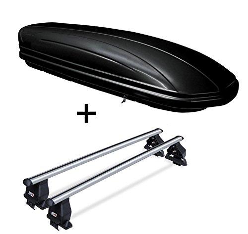 Dachbox VDPMAA320 abschließbar schwarz 320 Ltr + Dachträger Menabo Tema kompatibel mit Nissan Juke (5Türer) ab 2010 Aluminium