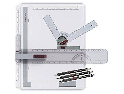 rOtring Zeichenplatte profil A4 (Zeichen-Set) inklusive 15° Zeichenwinkel und Tikky Colourcode 0,35/0,5/0,7 Druckbleistifte