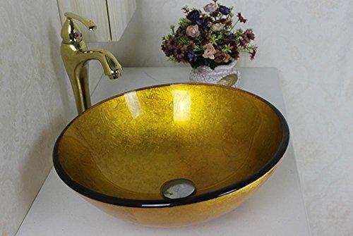 Allure Feng@ Rotonda ciotola in acciaio di colore giallo / lavandino di vetro / vestito rubinetto / anello per una facile installazione e il